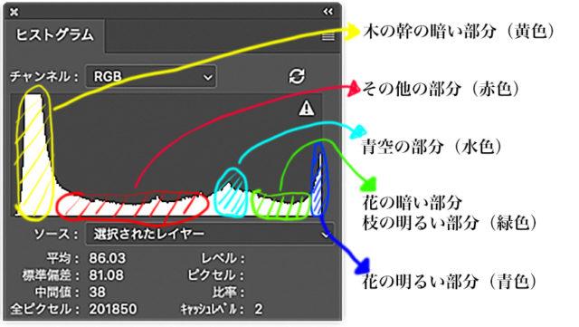 ヒストグラムのカラー分布図